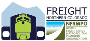 Logo for Freight Northern Colorado with icon of train and NFRMPO logo