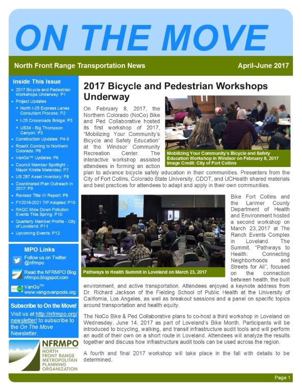 First page of On The Move Newsletter, April-June 2017 edition
