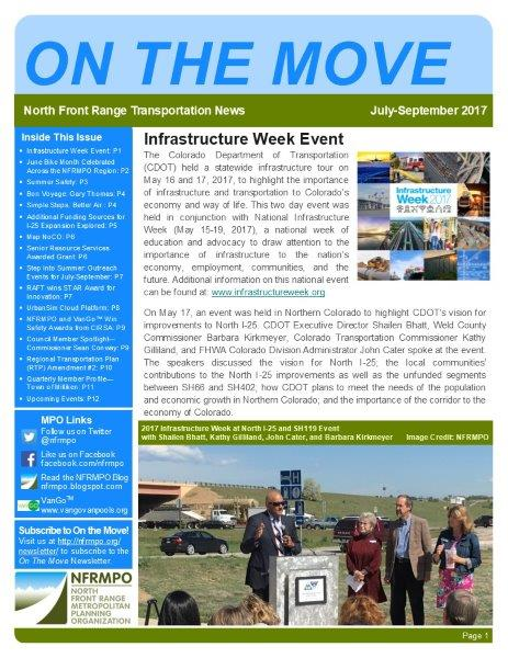 First page of On The Move Newsletter, July-September 2017 edition