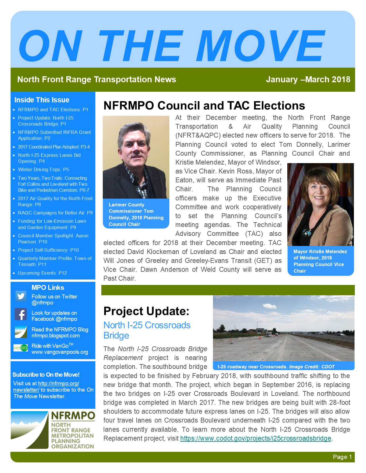 First page of On The Move Newsletter, January-March 2018 edition