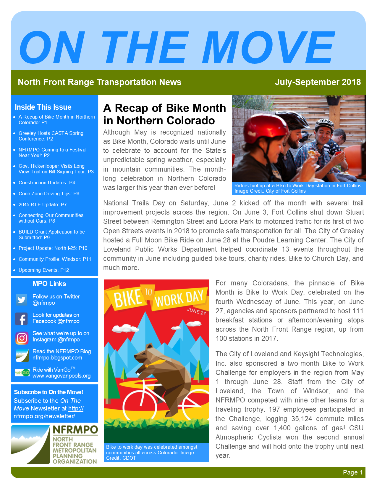 First page of On The Move Newsletter, July-September 2018 edition