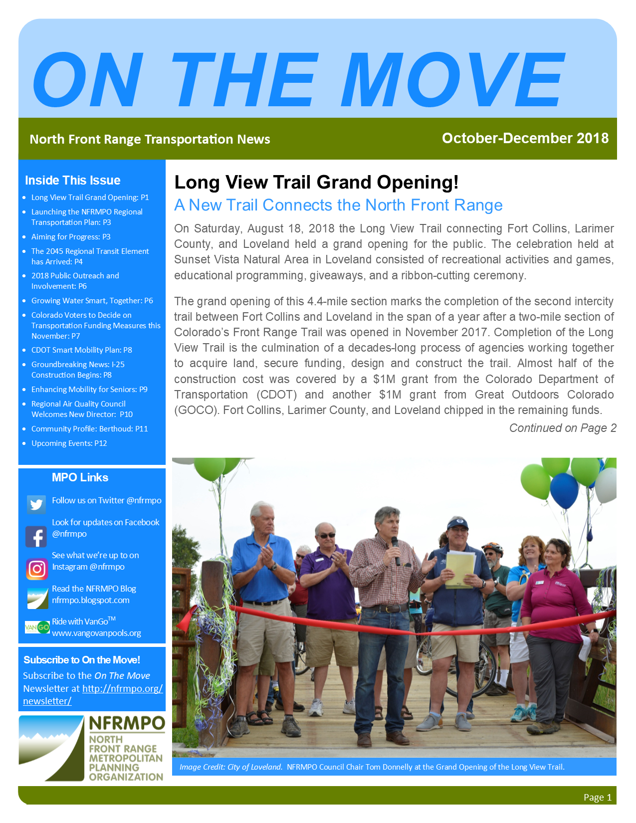 First page of On The Move Newsletter, October-December 2018 edition