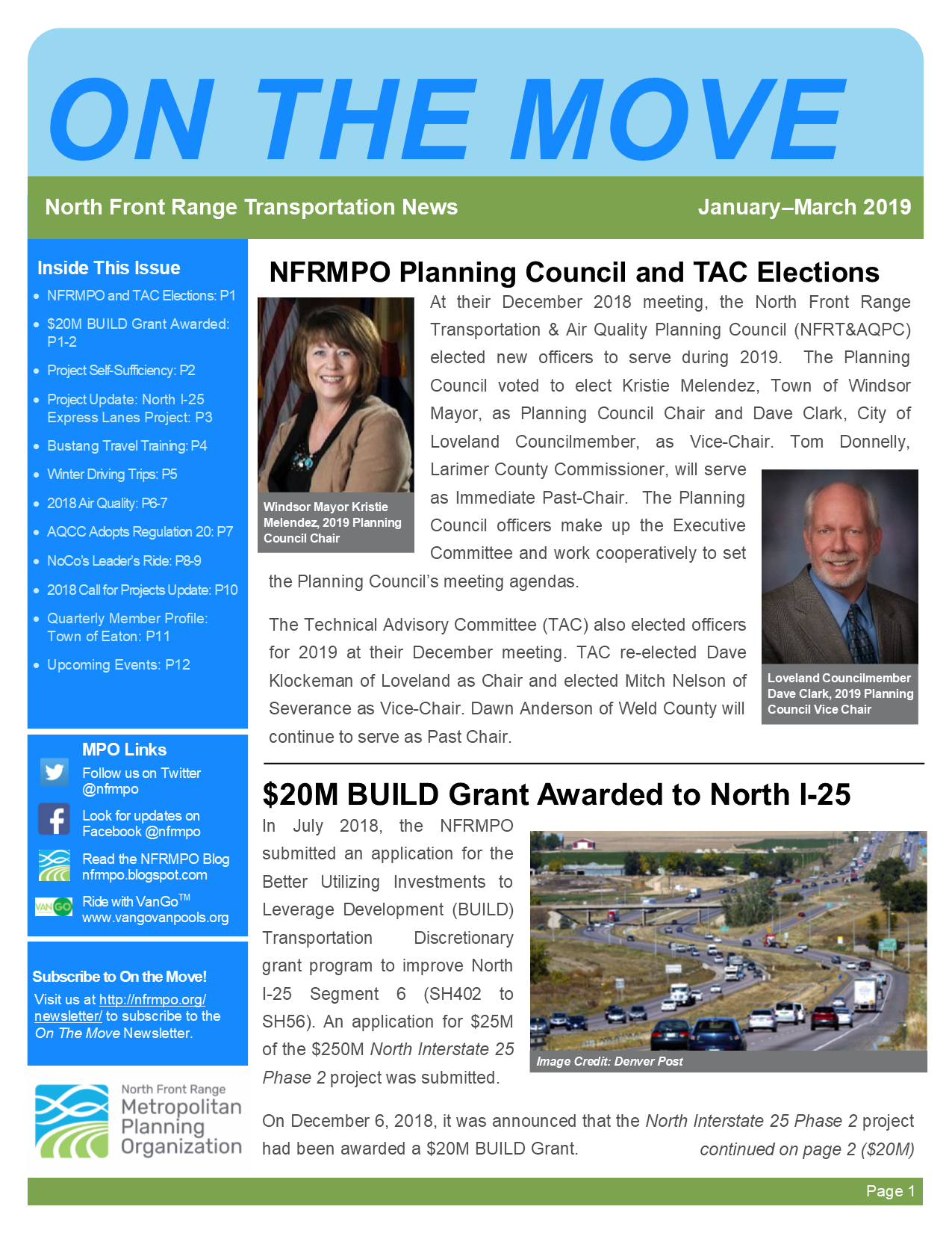 First page of On The Move Newsletter, January-March 2019 edition