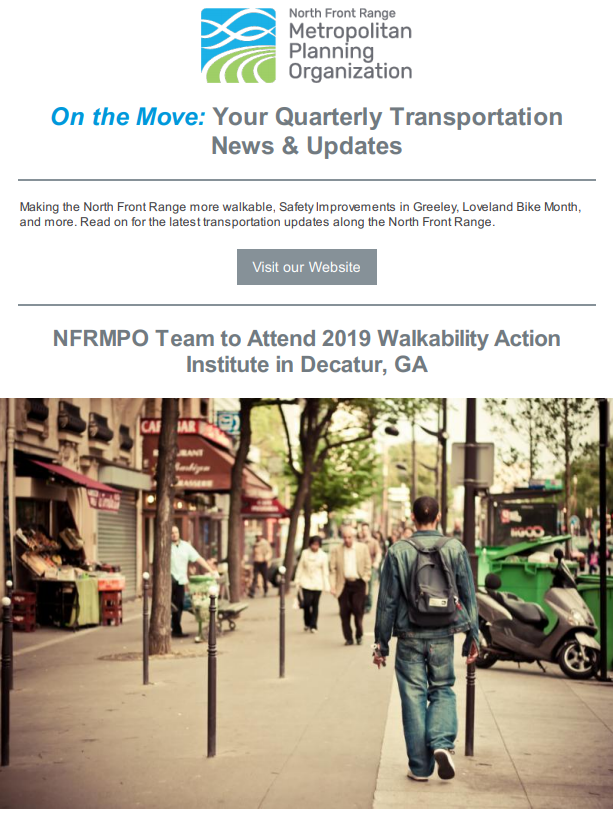 First page of On The Move Newsletter, April-June 2019 edition