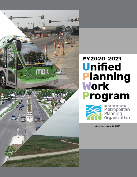 Cover of FY2019 UPWP with pictures of a train, cyclist, autos, FLEX bus, and VanGo vans