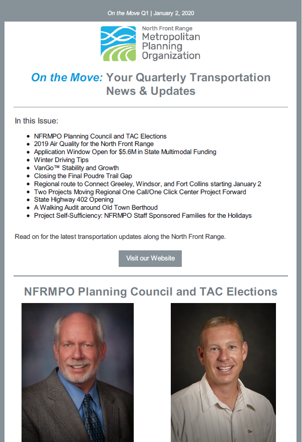 First page of On The Move Newsletter, January-March 2020 edition