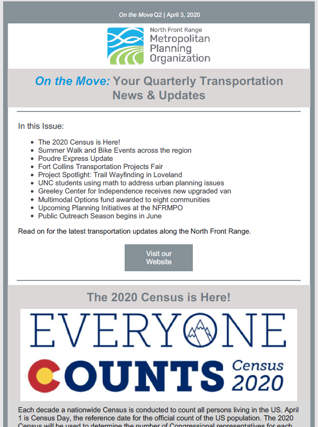 First page of On The Move Newsletter, April-June 2020 edition