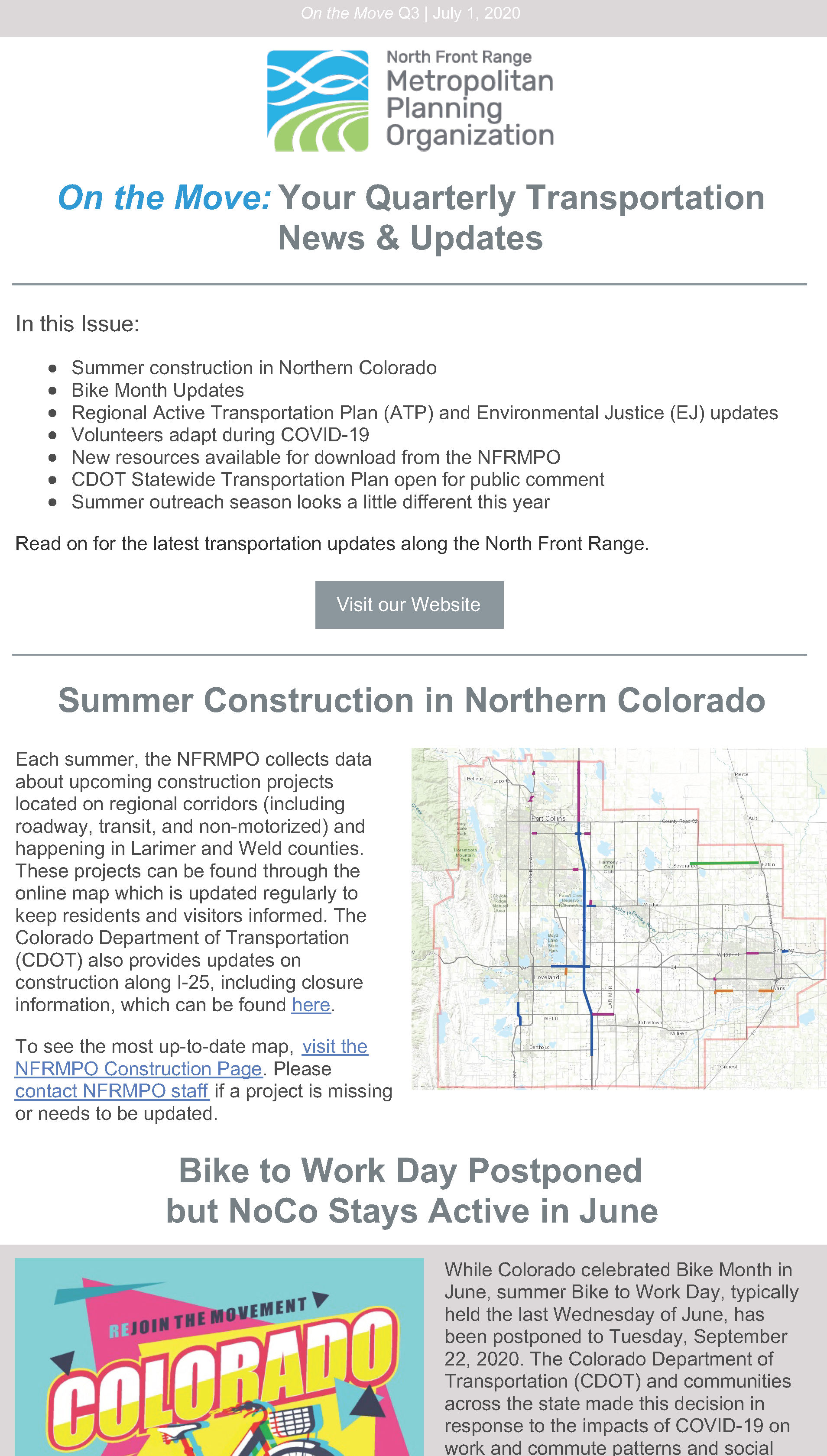 First page of On The Move Newsletter, July-September 2020 edition