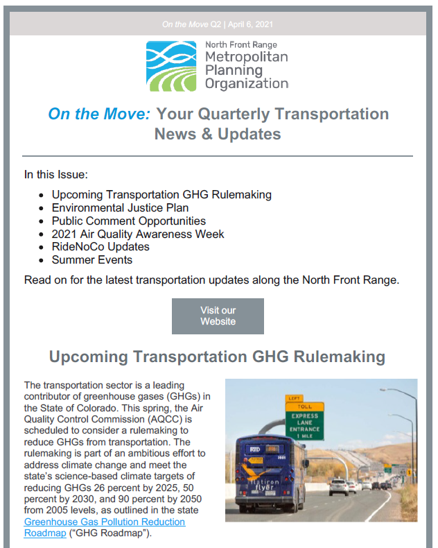 First page of On The Move Newsletter Spring edition