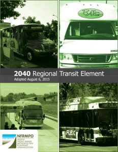 Cover of 2040 RTE Plan with pictures of transit vehicles and text: Adopted August 6, 2015