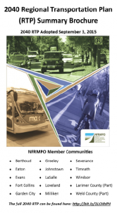 Cover of the 2040 RTP Brochure, showing pictures of autos, a MAX bus, and a cyclist