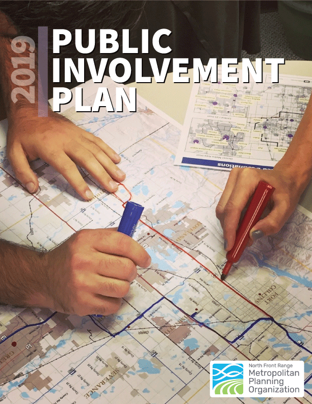 Cover of Public Involvement Plan of two people drawing on map