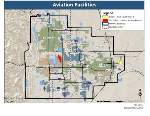 Map of aviation facilities in the North Front Range