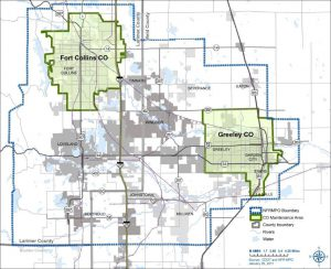 Map of carbon monoxide maintenance areas in Fort Collins and Greeley