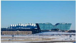 Denver International Airport showing distinctive mountain roof and hotel