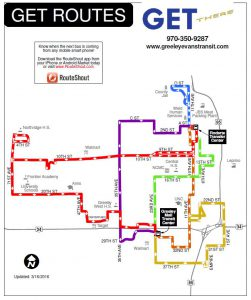 Service map for Greeley-Evans Transit