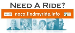 "Five profiles of faces, text says ""Need a ride? noco.findmyride.info"""
