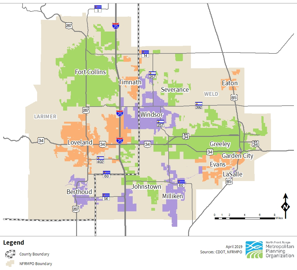 Map of the NFRMPO region in Larimer and Weld counties