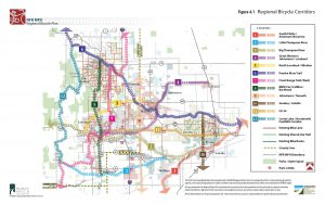 Map of existing and planned bicycle corridors in the North Front Range region