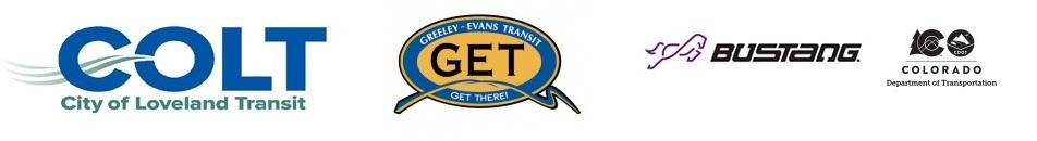 Logos of City of Loveland Transit, Greeley Evans Transit, and CDOT Bustang